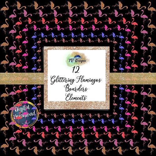 "Glitter Flamingo Border Frame 12"" x12"