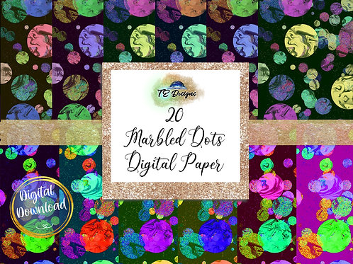 Marbled Dots Digital Papers
