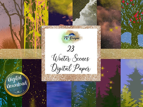 Christmas Winter Scenes Backgrounds Digital Papers