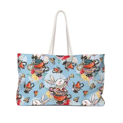 Baby Blue Rabbit in Teacup, Queen of Hearts Alice in Wonderland Teacher Bag