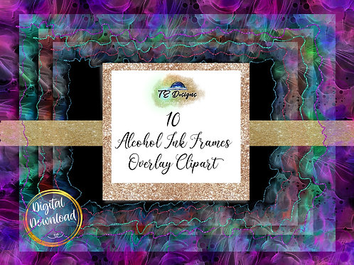 Alcohol Ink Frames Overlay Clipart