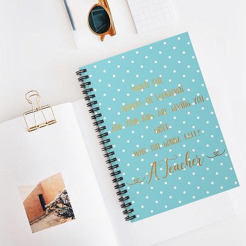 Mint & Gold Teacher Spiral Notebook - Ruled Line