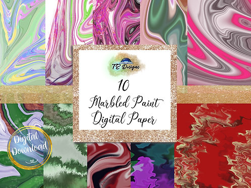 Marbled Paint digital papers
