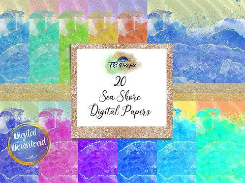 Sea Shore Digital Papers