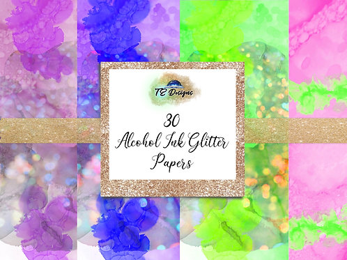 Glitter Alcohol Inks Digital Papers Vol 1