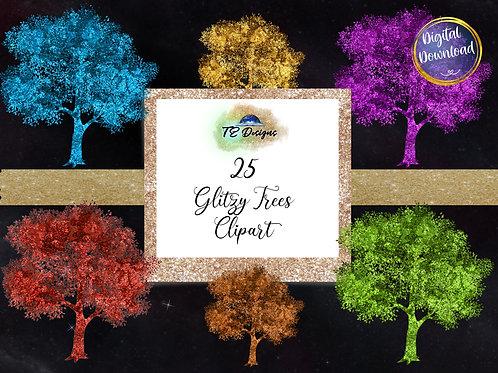 Glitzy Tree Elements Clipart