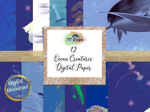 Ocean Creatures Digital Papers