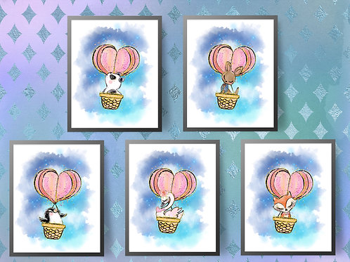 Hot Air Ballon Animals Print| Baby Animals Printable Poster