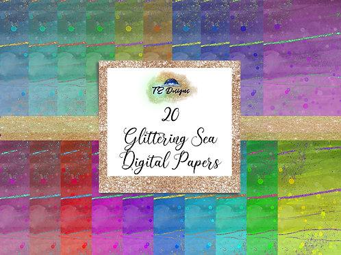 Glittering Sea digital papers