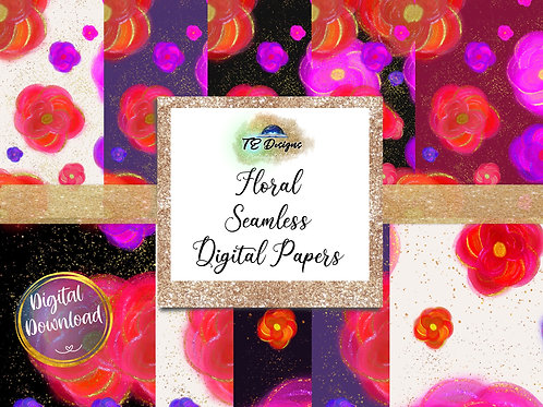 Red and Purple Floral Seamless 12x12 Digital Papers - Commercial use