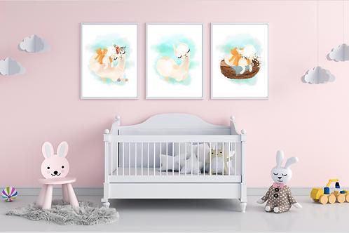 Llama & Baby Print