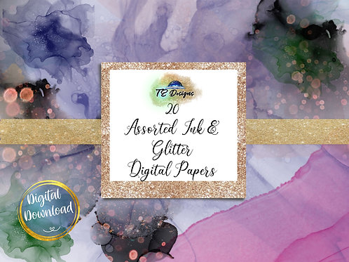 Glitter Inks digital papers