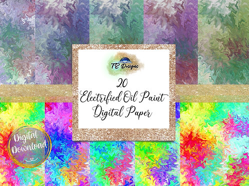 Electrified Oil Paint  Digital Papers