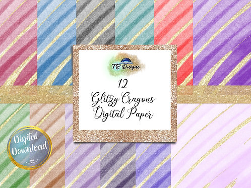 Glitzy Crayon digital papers