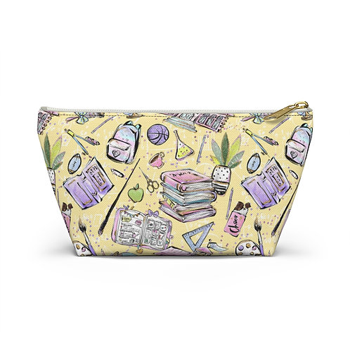 Yellow Back to School Pencil Case, Teacher, Student Accessory Pouch w T-bottom