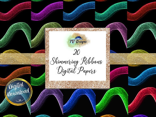 Shimmering Ribbons digital papers