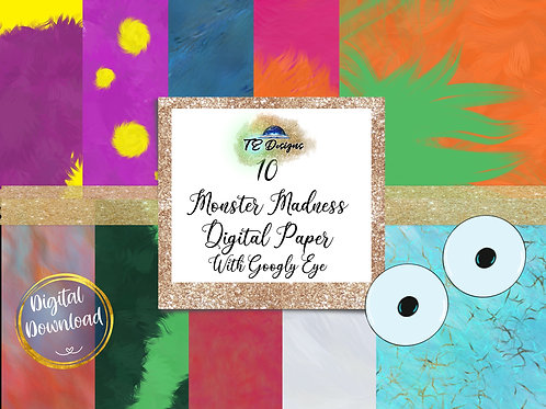 Monster Madness, Funky Fur, Halloween Digital Papers