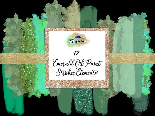 Emerald Green Oil Paint Strokes Clipart Element for Commercial use