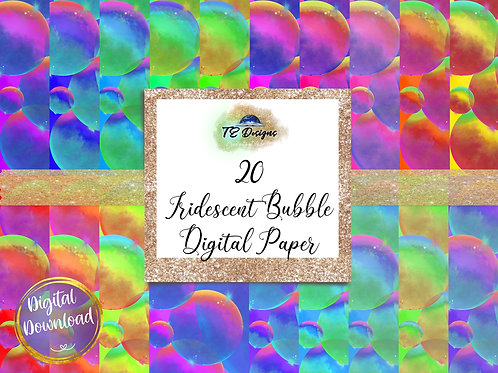 Iridescent Bubbles digital papers