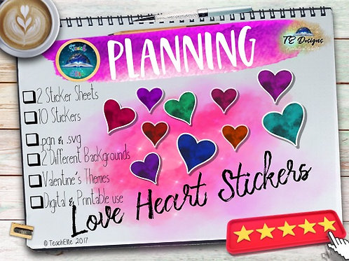 Love Heart Planner Stickers Print and Digital