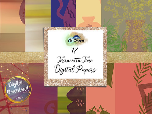 Terracotta Time Digital Papers