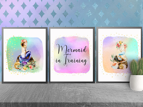 Mermaid in Training Print| Mermaid Printable Poster
