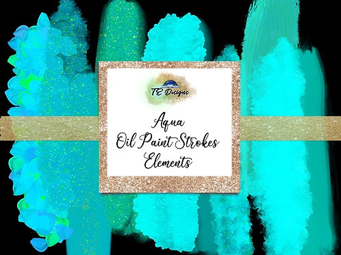 Aqua Oil Paint Strokes Clipart Element for Commercial use