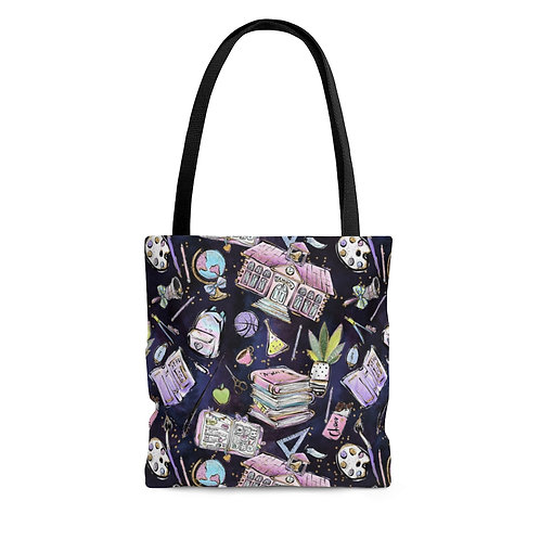 Navy Back to School, Teacher Bag AOP Tote Bag