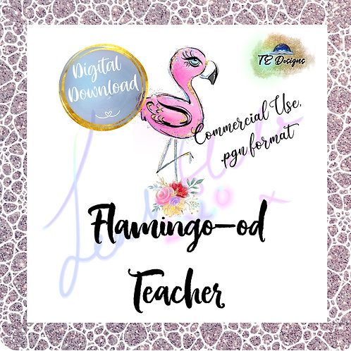 Flamingo Teacher pgn clipart for commercial use