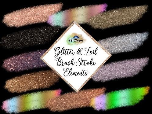 Glitter & Foil Brush Stroke Elements Clipart