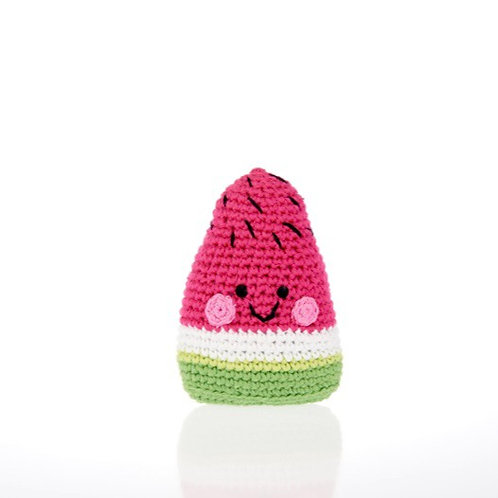 Pebble knitted watermelon slice rattle