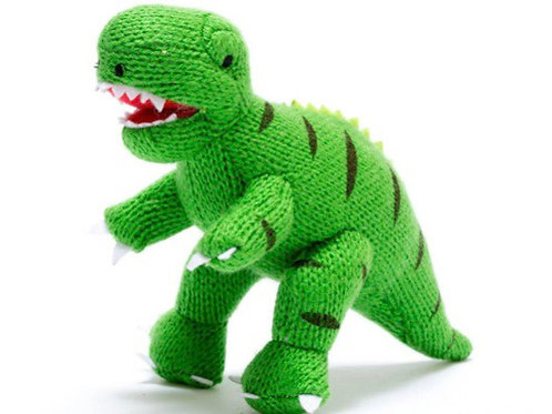 Small green knitted T Rex rattle