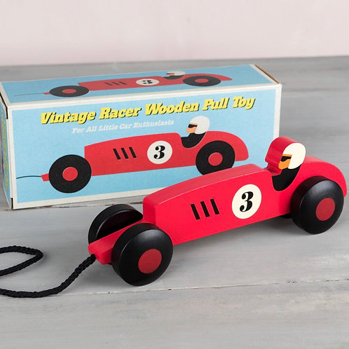 Vintage racer wooden pull toy