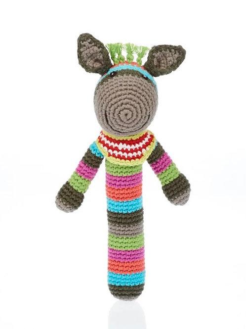 Knitted Donkey Stick Rattle