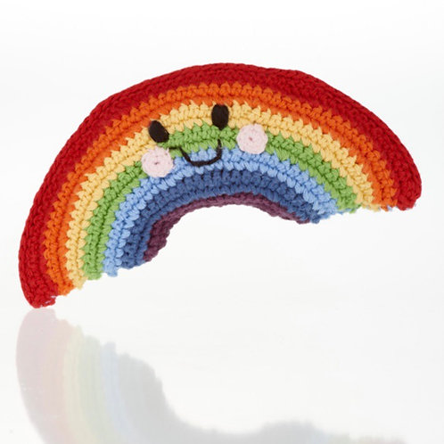 Pebble knitted rainbow rattle