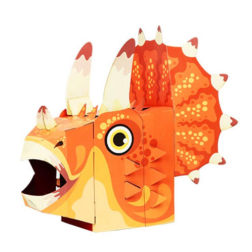 3D card craft mask Triceratops head