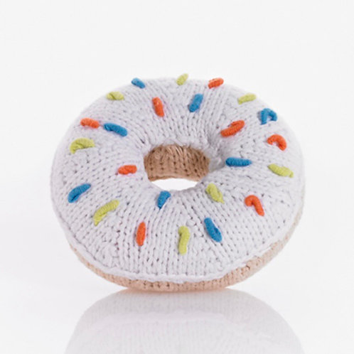 Pebble knitted donut rattle