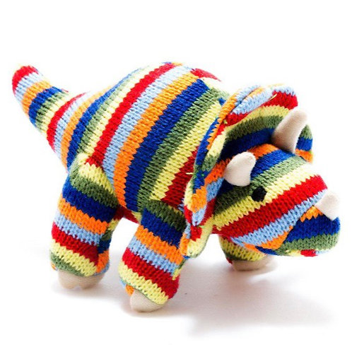 Small knitted rainbow triceratops rattle