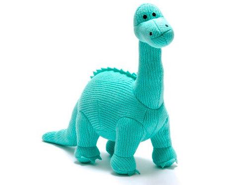 Medium knitted aqua diplodocus
