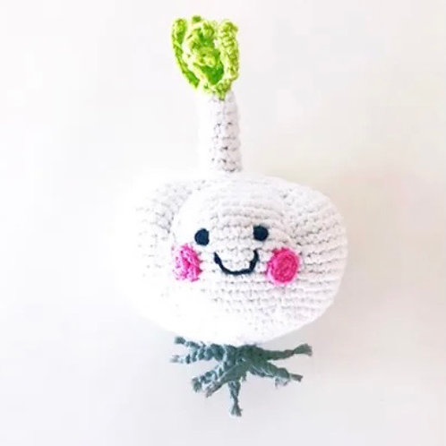 Pebble knitted Garlic Rattle