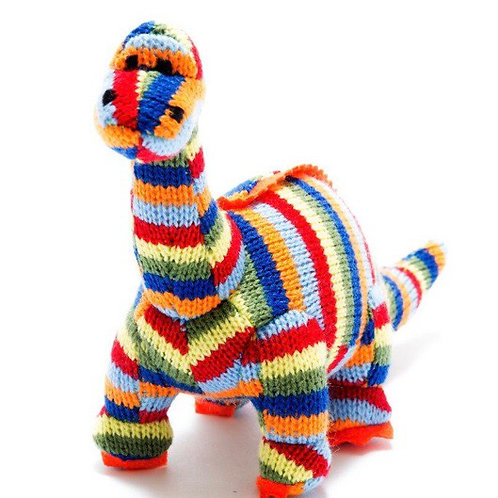 Small knitted rainbow diplodocus rattle