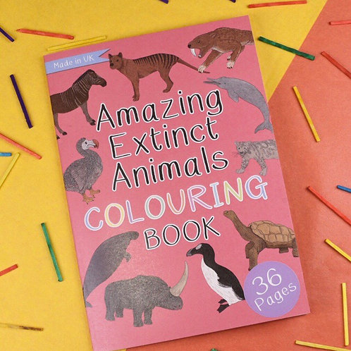 Amazing extinct animals colouring book