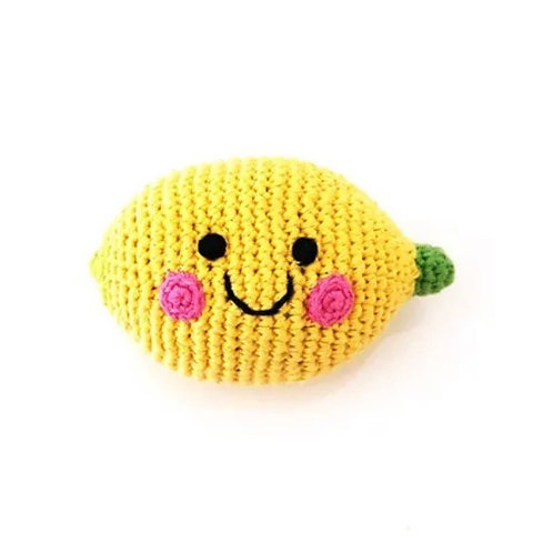 Pebble Knitted Lemon Rattle