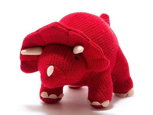 Small red knitted triceratops rattle