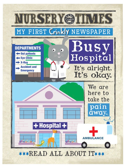 Crinkly Cloth Nursery Times Newspaper 'Hospital'