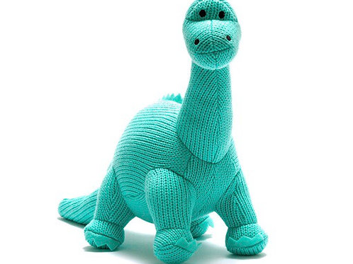 Medium knitted dino in aqua