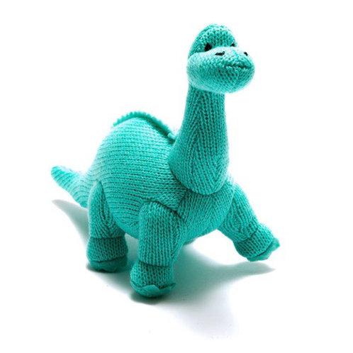 Small aqua knitted dinosaur rattle