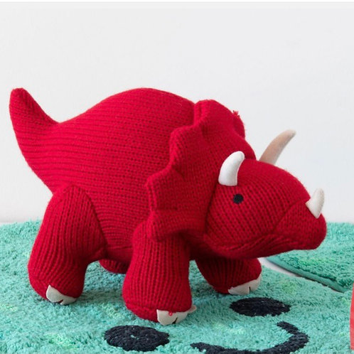Medium Knitted red Triceratops