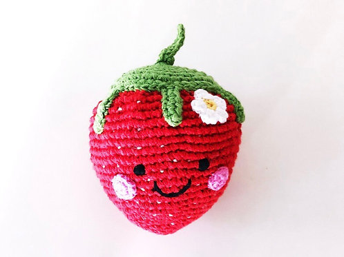 Pebble Strawberry knitted rattle