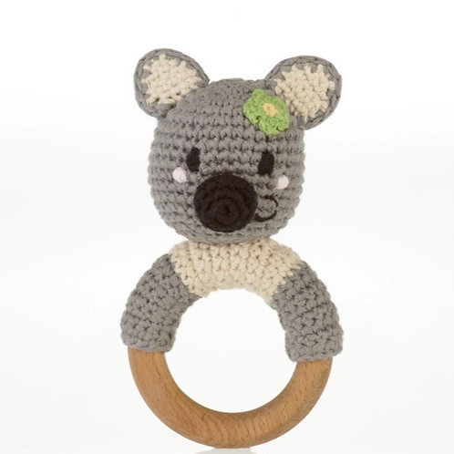 Pebble knitted wooden teether and rattle